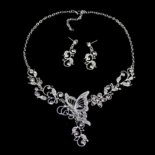 Butterfly Necklace Flower Dangle Earrings