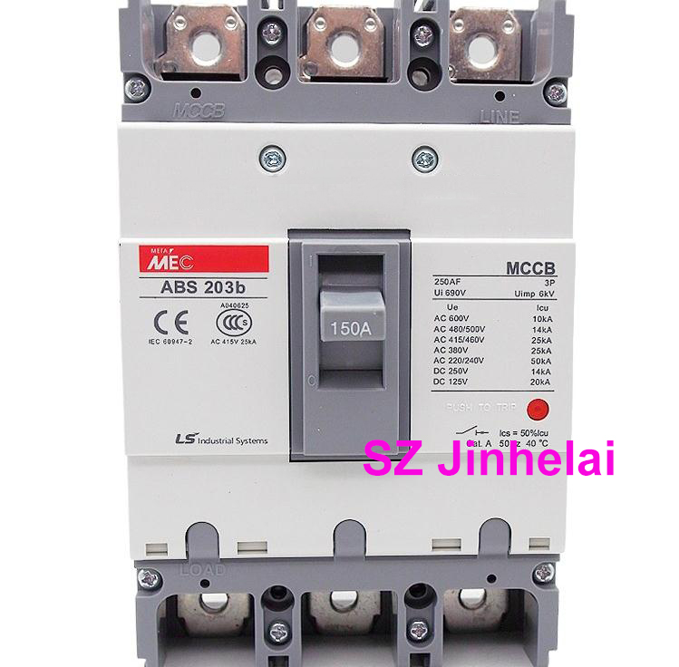 ABS203b Authentic original ABS 203b LS Molded case circuit breaker ABS-203B Air switch 3P 100A/125A/150A/175A/200A/225A easypact cvs160b ma 3p lv516430 3p 100a lv516431 3p 150a
