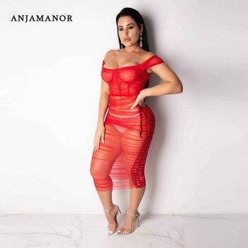 ac1ccbc93d6d Vestido largo de verano D35AC34 para fiesta de noche para mujer, vestidos  Sexy, de malla transparente, rojo y negro, con hombros descubiertos