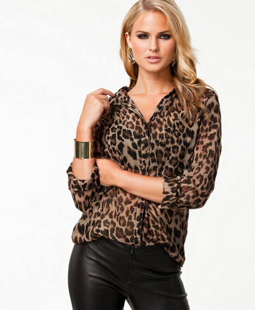Blouse Sexy Long Sleeve Leopard