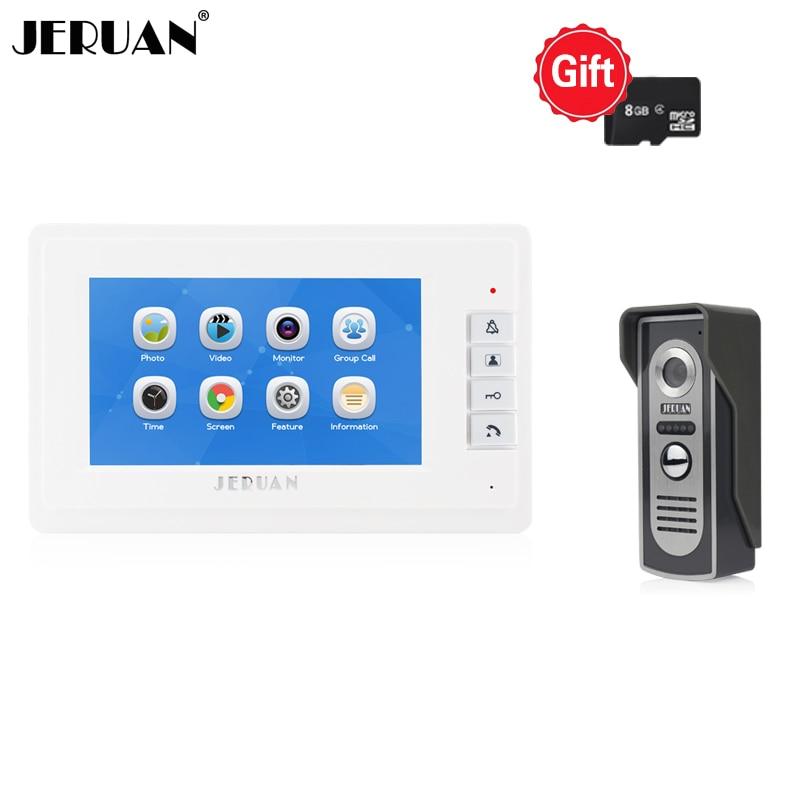 JERUAN 7 inch LCD Color Screen video Doorbell door phone Record intercom system Kit White Monitor + IR Camera FREE SHIPPING