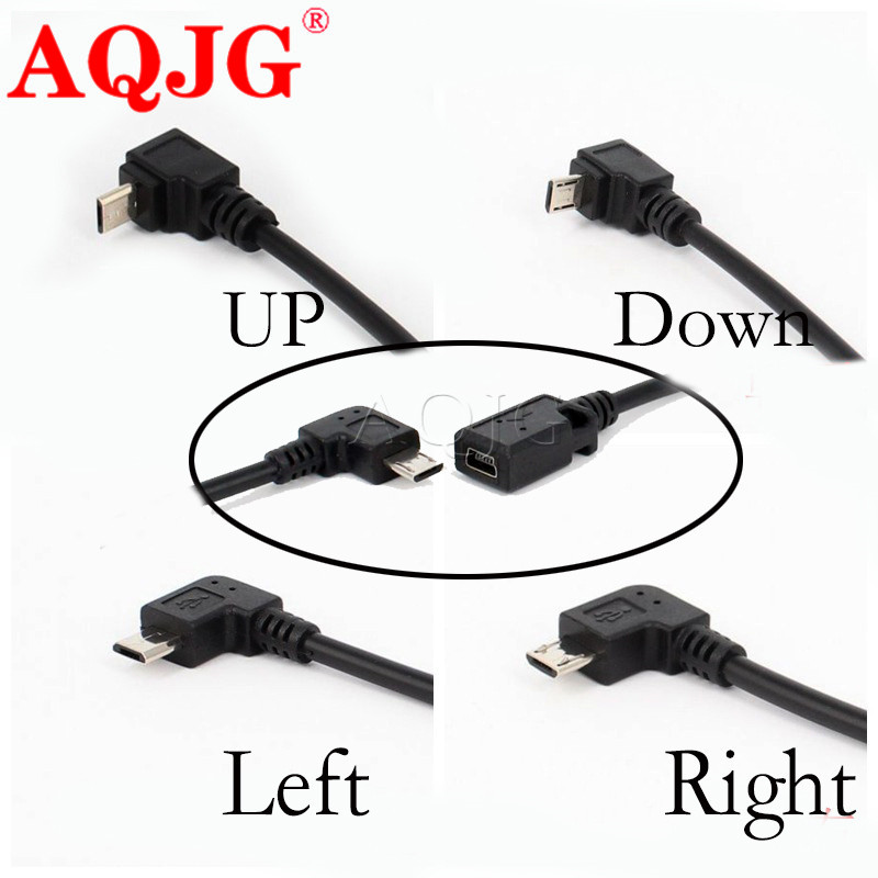 4Type L Shape Black Micro / Mini USB Female To Mini / Micro USB Male Adapter Charger Connector  90 Degree UP  Converter Adaptor