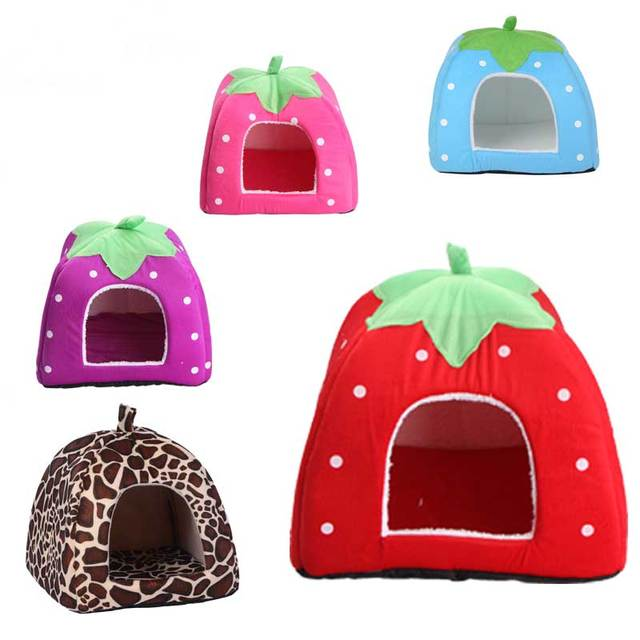Soft Strawberry Foldable Winter Warm Leopard Print Strawberry Cave Dog Bed Pet Dog House Cute Kennel Nest for Animal Cat Tent 1