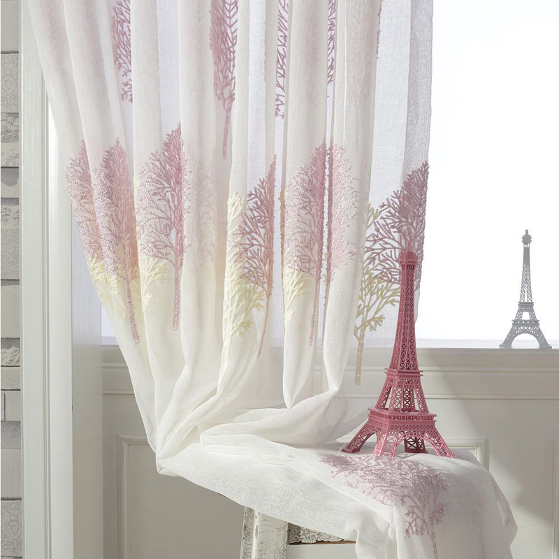 Embroidery Tulle For Windows Country Transparent Sheer Fabric Curtains  Ready Made Chiffon Curtains Rustic Yarn Curtains