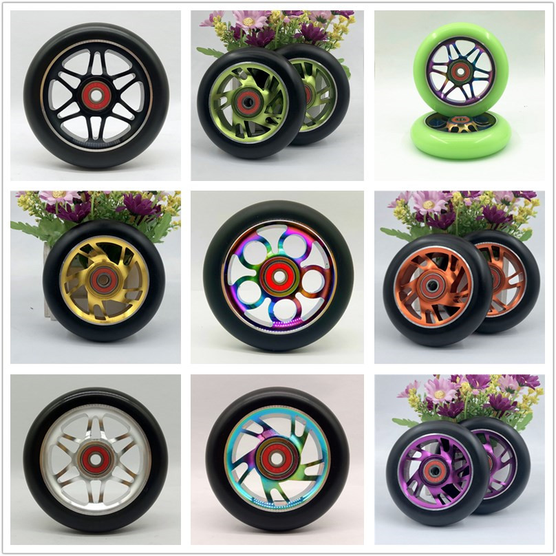 Sports & Entertainment 2pcs 100/110mm Stunt Scooter Wheels Multiple Choices With Aluminium Alloy Hub High Elastic Pu 608 Abec-9 Bearings 88a Wheels
