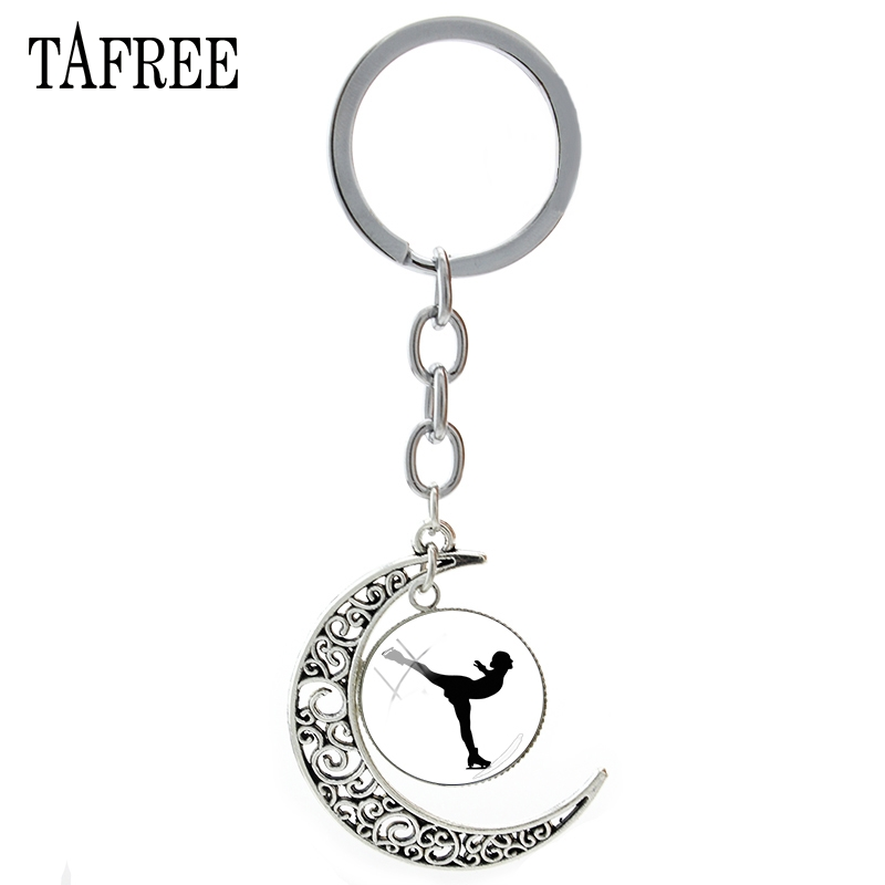 TAFREE charming moon pendant keychain ice skating keychain art glass picture cabochon charming chaveiros for women jewelry ST43 nina bruhns prince charming for 1 night