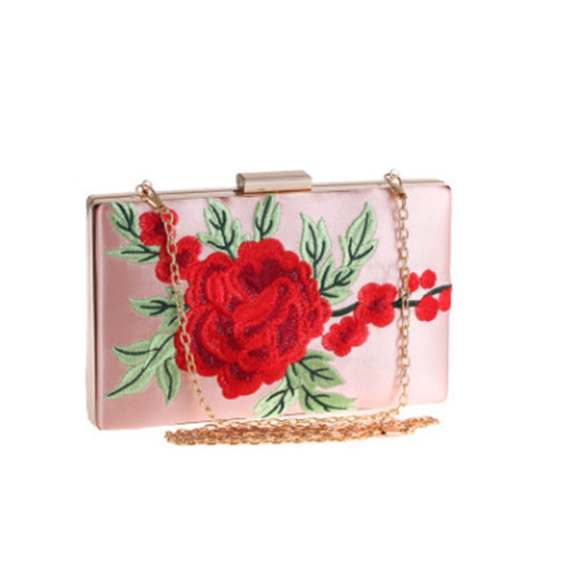 2019 Vintage Embroidery Women Evening Bag Rose Embroidered