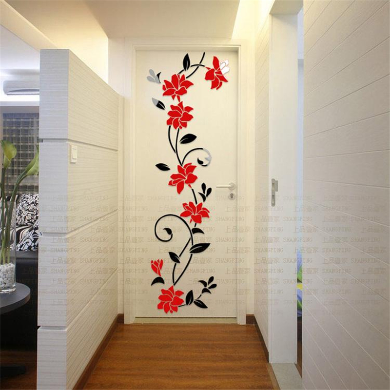 Buy red roses 36 115cm 3d three for Stickers para pared decorativos