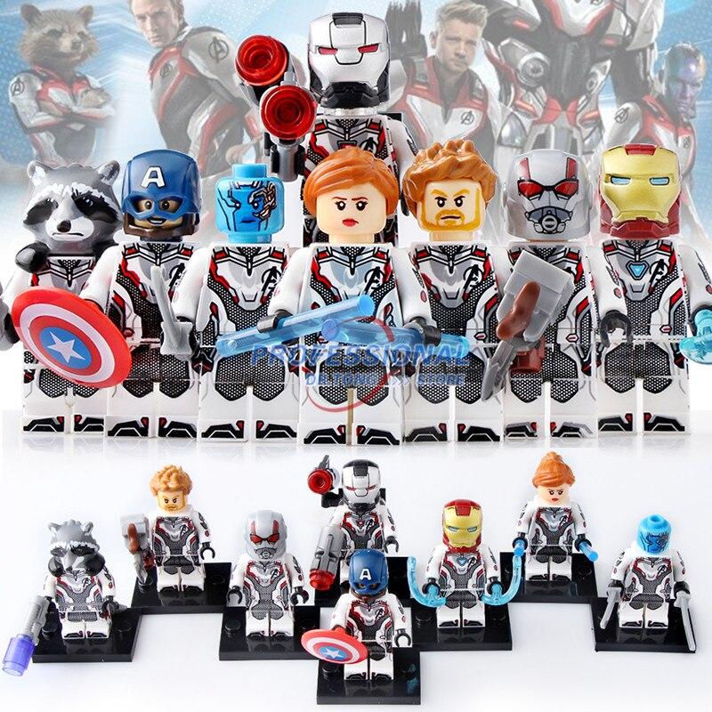 50pcs Avengers 4 film costume quantique Super héros fusée raton laveur guerre Machine blocs de construction briques jouets pour X0251