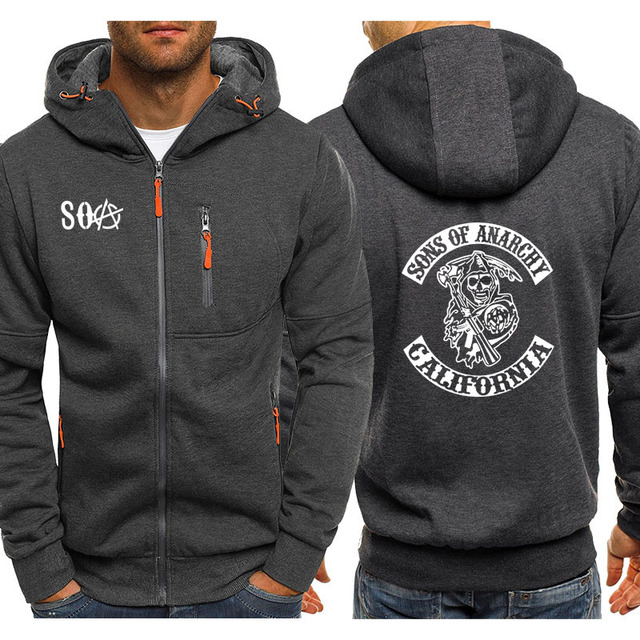 SOA SONS OF ANARCHY CALIFORNIA ZIP  UP HOODIE (6 VARIAN)