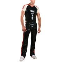 Латекс резиновая Спортивные штаны черные брюки с красной отделкой (без Рубашки для мальчиков)