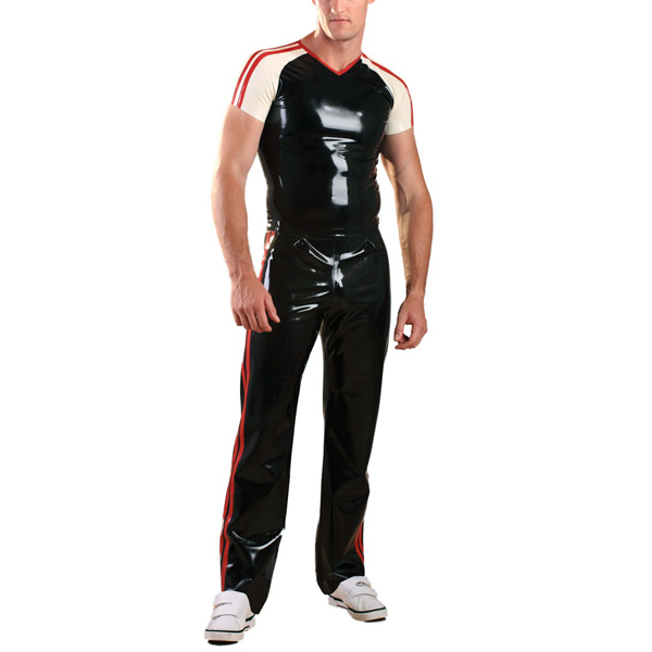 Здесь продается  Latex Rubber Sports Pants Black Pants with Red Trim (No Shirts)  Одежда и аксессуары