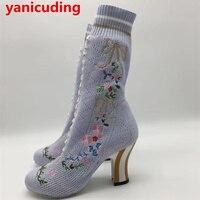 MIQUINHA Round Toe Women Mid Calf Boots Short Booties Flower Butterfly Knot Design Super Star Lady