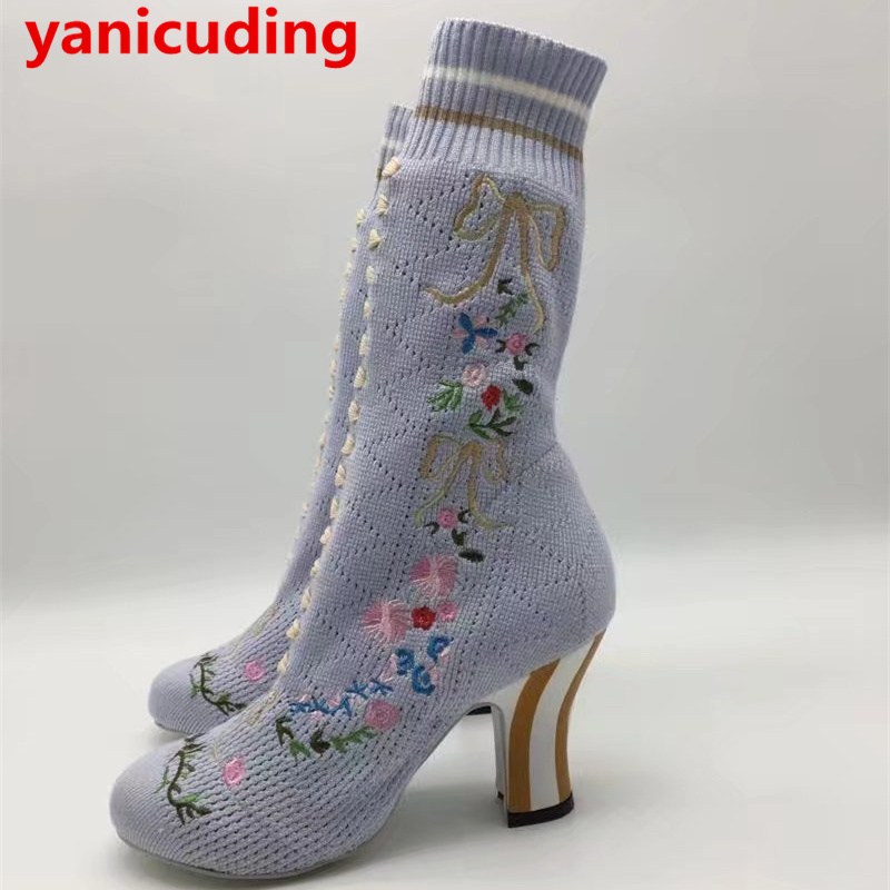 yanicuding Round Toe Women Mid-calf Boots Short Booties Flower Butterfly Knot Design Super Star Lady Runway Shoes European Style double buckle cross straps mid calf boots