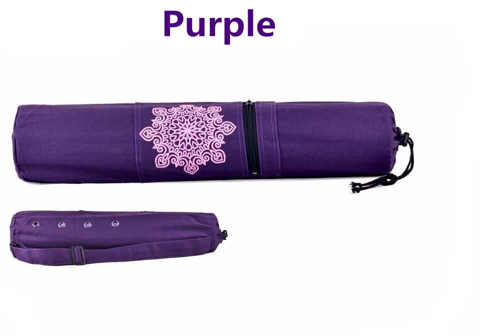 Tali bahu Kanvas Yoga Mat Membawa Tas Ritsleting Kantong Tas Gym - Kebugaran dan binaraga - Foto 3
