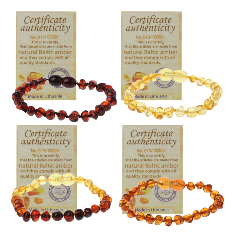 2018 Infant Genuine Baltic Amber Teething Bracelet Raw and Anklet Baby Beads for Teethers AYuguo-baby A11_32(China)