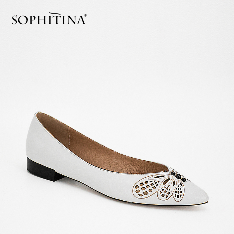 SOPHITINA Butterfly Woman Fats Pointed Toe White Black Sheepskin Shoes 2019 Fashion Handmade Slip on Party