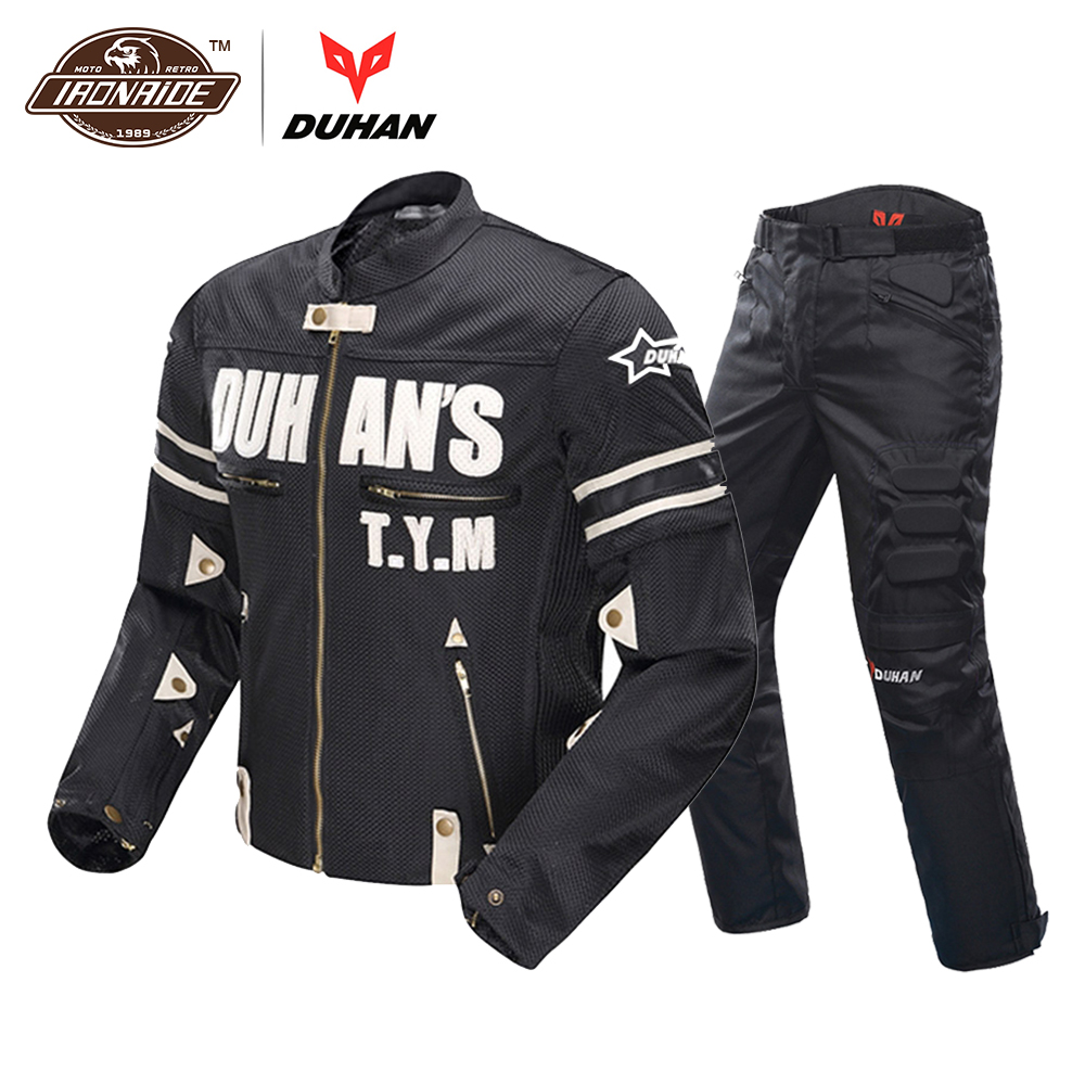 DUHAN Breathable Motorcycle Jacket Men Mesh Racing Summer Suit Moto Jacket Riding Motorcycle Pants Clothing Protector
