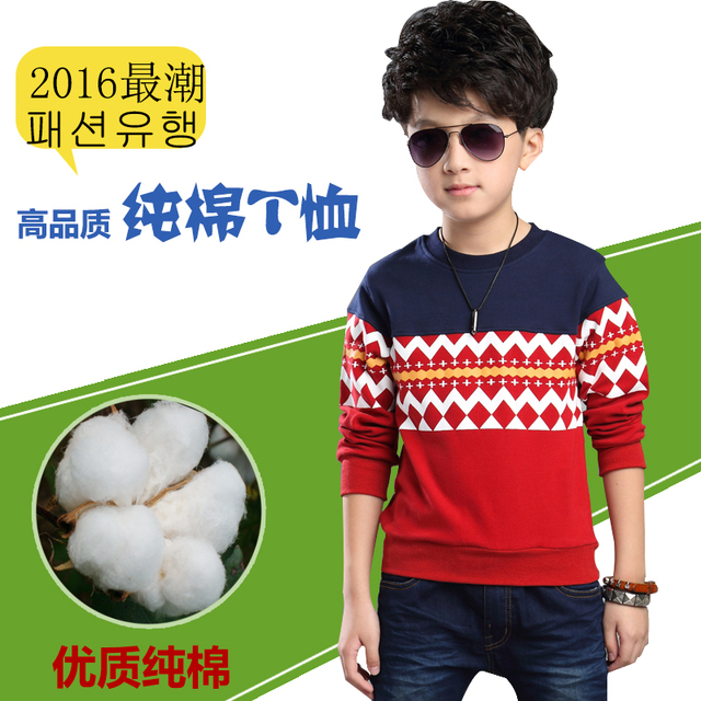 Children's clothing teenage boys clothes kids long-sleeve T-shirt 100% cotton basic shirt thick autumn winter casual top t shirt