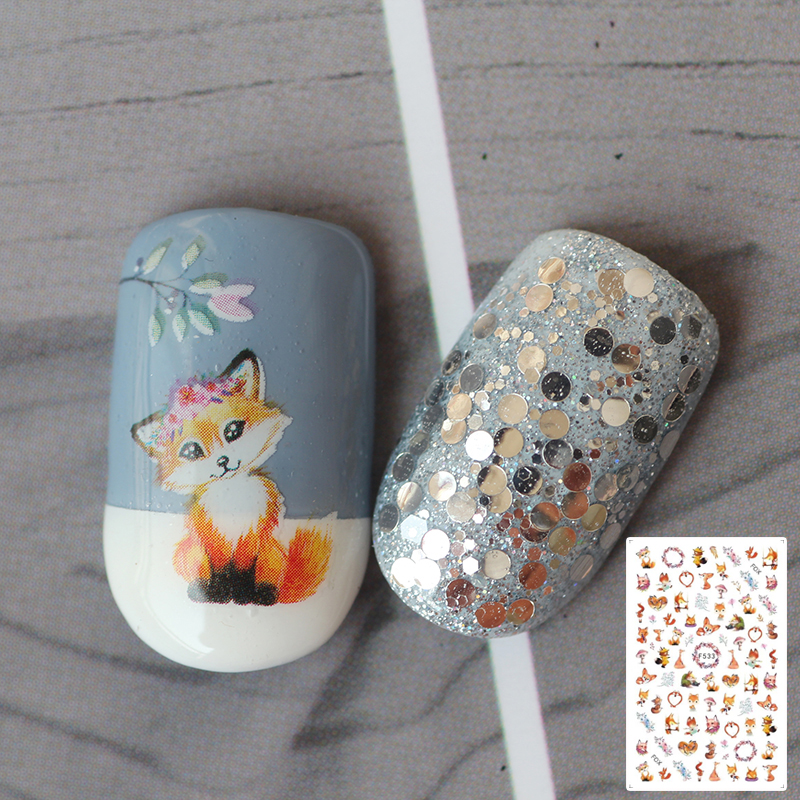 1pcs Manicure 3D Sticker With Adhesive Cute Elf Little Fox Cute Color Manicure Sticker Applique Nail Jewelry Tips