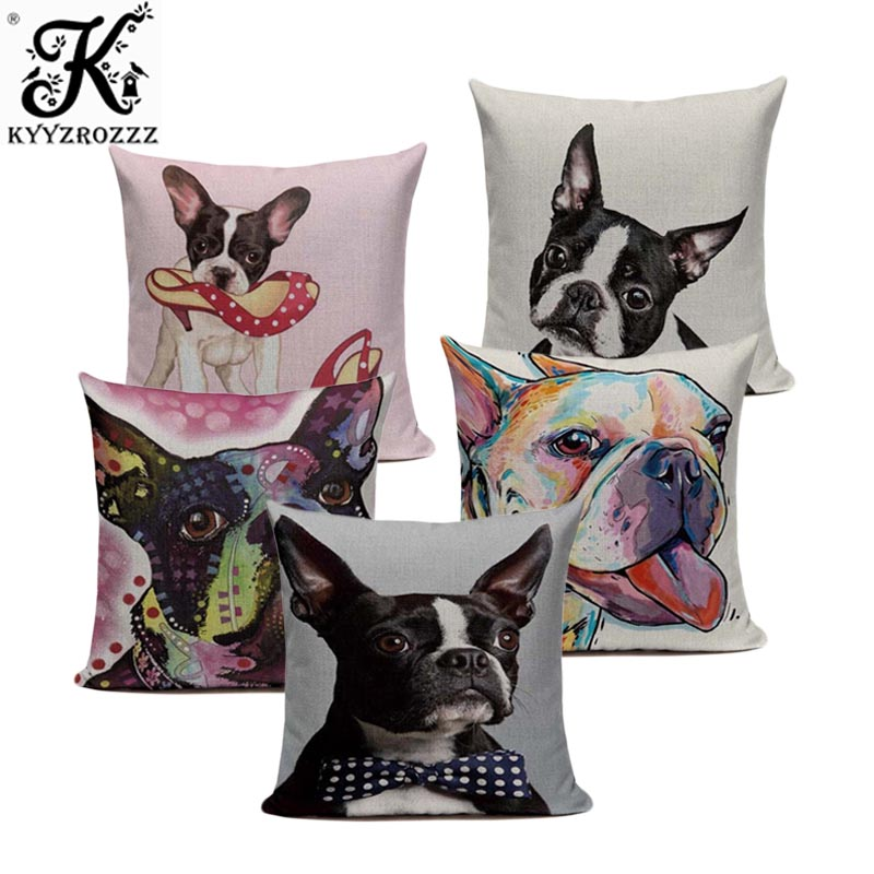 Hot Linen boston terrier French Bulldog Gifts Luxury Cushion Pillow Case 45Cmx45Cm Square Office Chair Handmade Cushion Case