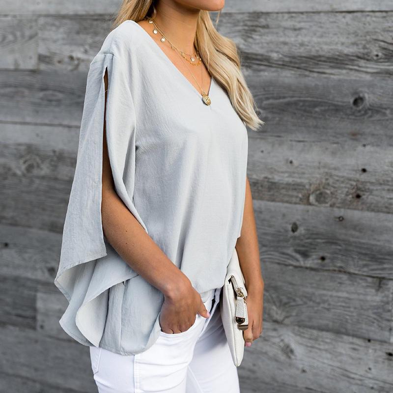 2018 Fashion Bow Tie V Neck Chiffon Shirts Casual OL Long Sleeved Flounced Blouses Summer Loose Tops for Women WS8627U