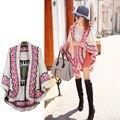 2014 otoño invierno nueva moda de punto de algodón mujeres suéter hecho punto rebeca de la marca que hace punto del mantón Poncho señora ojo Print cabo escudo