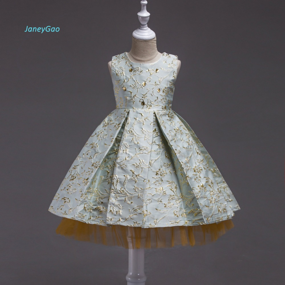 JaneyGao   Flower     Girl     Dress   For Wedding Party Little   Girl   Formal   Dress   Sleeveless Embrodery Pageant   Dress   2018 New Style Gown