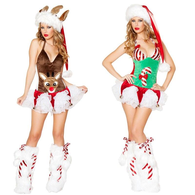 disfraces de adultos de alta calidad de las mujeres delgadas atractivas del reno de la navidad