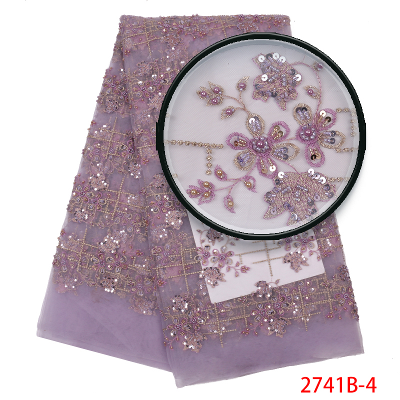 Hot Sale Africa Lace Fabric, High Quality French 3D Beaded Tulle Lace Fabric, Nigerian Embroidered Laces With Sequins KS2741B-4