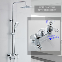Modern Chrome Bathroom Rainfall Shower Faucet Set Diamond Decorative Mixer Taps With Hand Shower Head Black Shower Set 88320