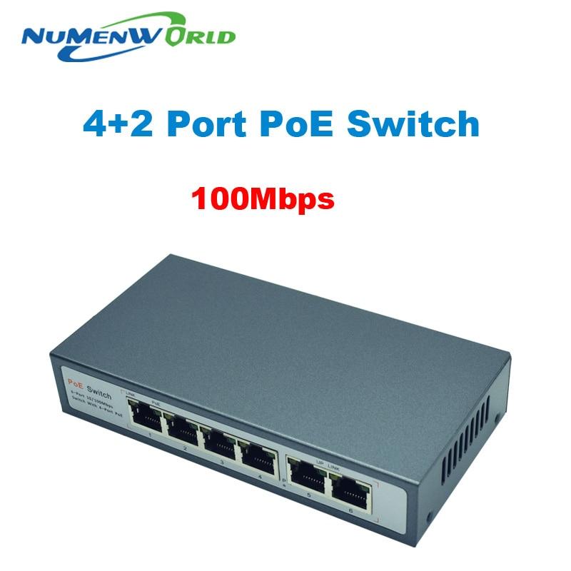 48V PoE Witch 4 +2 Port Desktop Fast Ethernet Switch For Dahua Hikvi Network Cameras  4CH IP Camera POES