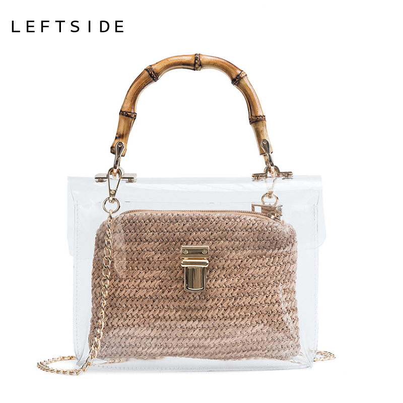 LEFTSIDE Transparent Bag For Women 2018 Handbag With Bamboo Handle Summer Small Chain Crossbody Bags Ladies Straw Beach Bags handbag small composite clear bag black chain beach bag transparent clear bags for women 2018 shoulder beach bags women summer