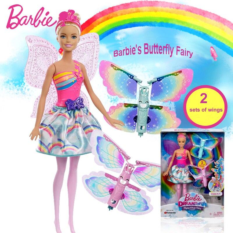 Barbie papillon princesse poupée fille jouet éducatif Barbie rêve ailes volantes fée ailée Juguete nouvel an cadeau pour enfants FRB08
