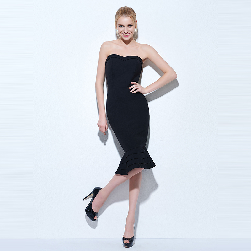 Tanpell strapless cocktail dress black sleeveless knee length mermaid gown  women hourglass party formal short cocktail dresses - TakoFashion - Women s  ... 3393586cab54