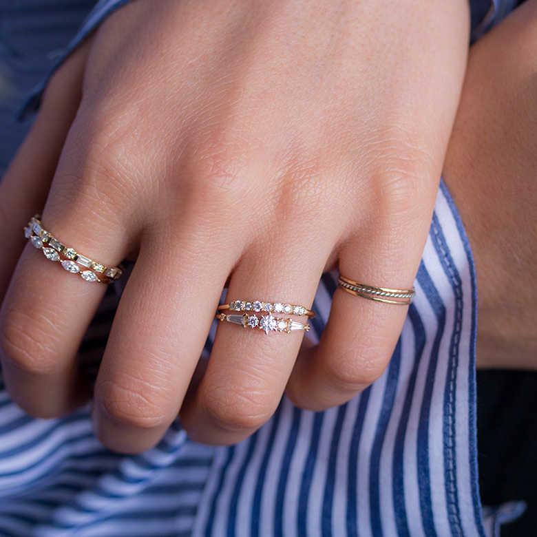Minimal Ring Cz Gold Ring Minimalist Ring Stacking Ring Open Cz Ring Tiny Gold Ring Stackable Ring Dainty Gold Cz Ring