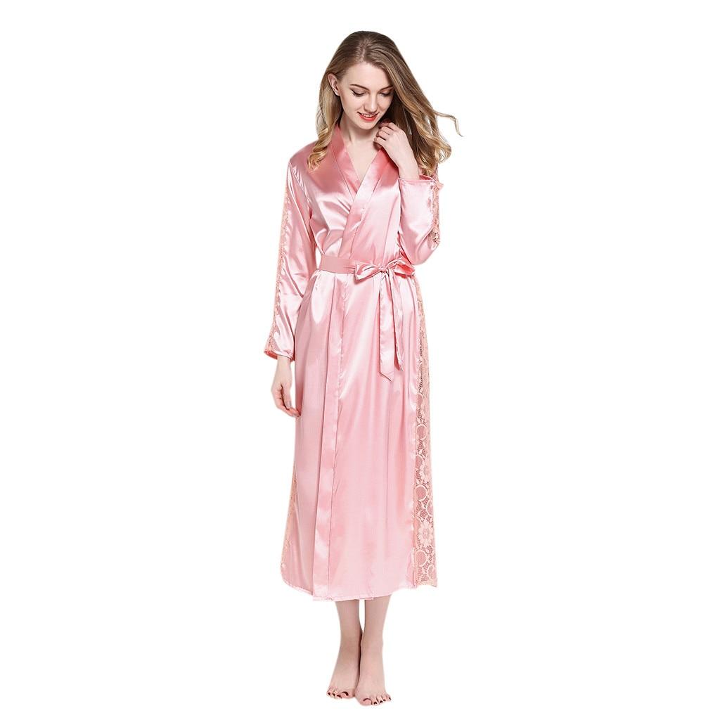 women nightgown long Womens Sexy Pajamas Underwear Temptation Lace Nightdress Robe Bathrobe A527