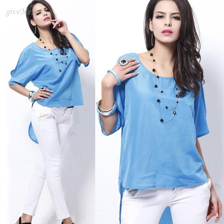 Verão Sedutor Brilhando mulheres céu Azul de Cetim Fora do ombro batwing  manga Tops camisa blusa Mulheres camisa das senhoras tops 04ce265ce0d