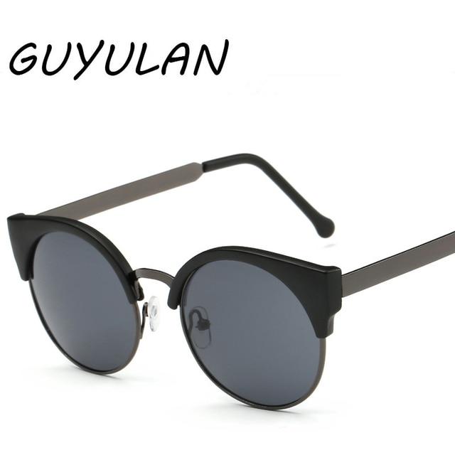 aed6b5ca3f6d GUYULAN Retro Cat Eye metal frame Women Sunglasses Vintage Men Driving  UV400 Round glasses Brand designer oculos de sol free box
