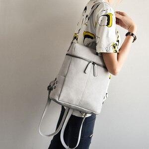 Image 5 - 간단한 스타일 배낭 여성 가죽 백팩 십 대 소녀 학교 가방 패션 빈티지 단색 검은 어깨 가방 청소년 XA568