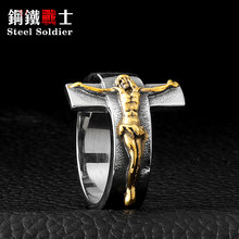 Baja soldier US ukuran 7-12 kepribadian fashion stainless steel wanita cincin vintage trendy 2017 perhiasan(China)