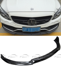 B Стиль передней губы 2015-2016 реальные бампер из углеродного волокна передний разделитель для Mercedes Benz W205 C63 AMG только в том случае,