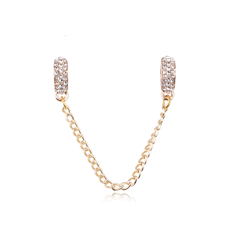 Fits Original Pandora Bracelets Zircon Pave Inspiration Spacer Safety Chain Charm Beads 925 Plated Silver Jewelry Accessories