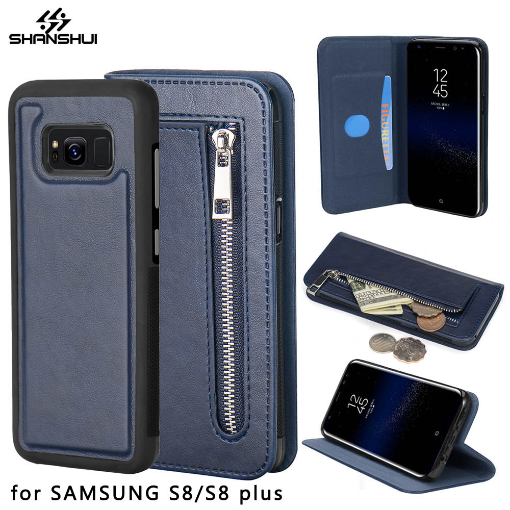 info for 634fc 8444d US $17.78 |Wallet Case for SAMSUNG S8 Galaxy S8 plus Luxury Coque Flip  Phone Cover SHANSHUI Detachable Magnetic Leather Original Black Blue-in  Wallet ...