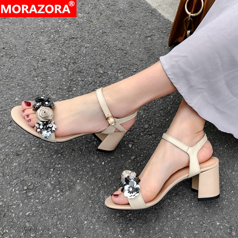 MORAZORA New brand genuine leather shoes buckle strap women sandals square high heels flowers ladies summer