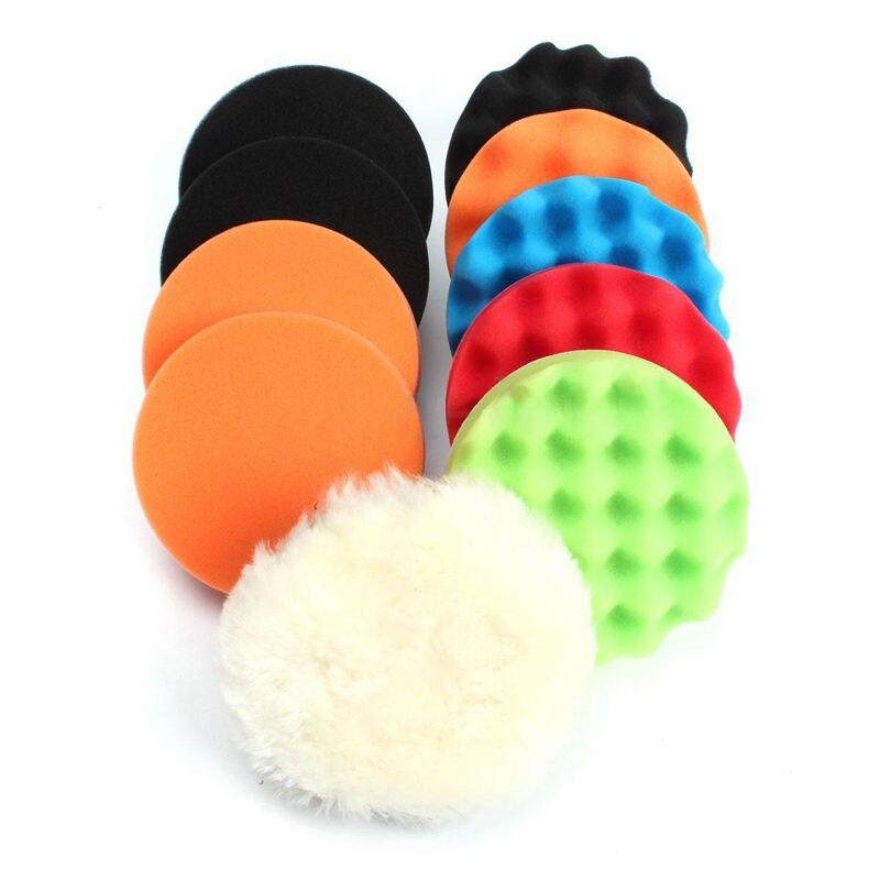 11pcs/Set 3/4/5/6/7 Round Sponge Polishing Buffing Pad Kit For Auto Car Cleaning Polisher Buffer