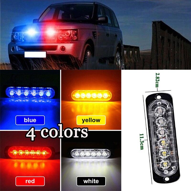 Car-Styling Yellow/Red/Blue/White 6 LED Car Truck Beacon Emergency Warning Hazard Light Grille Long Bright Light Bar