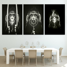 3 Panel Modern Printed The cool monkey Nordic Art Poster Modular Wall posters Canvas painting For home living room decor