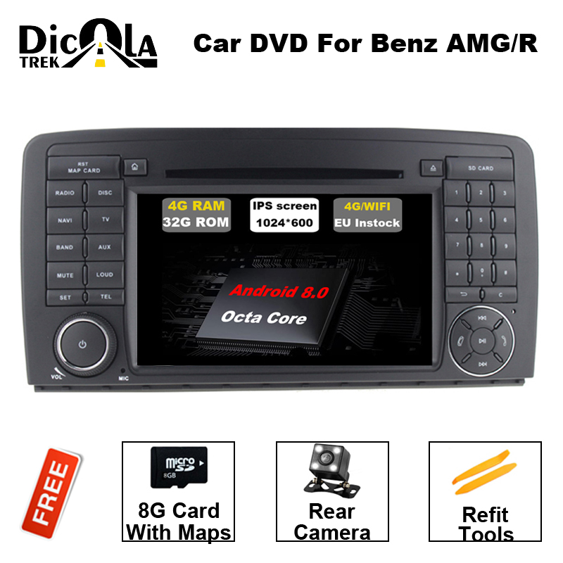 7 pouce 2 DIN Voiture DVD GPS Android 8.0 Fit Mercedes Benz R CLASSE W251 R280 R300 R320 R350 R500 r63 AMG 4g RAM BT DAB Radio DVD GPS