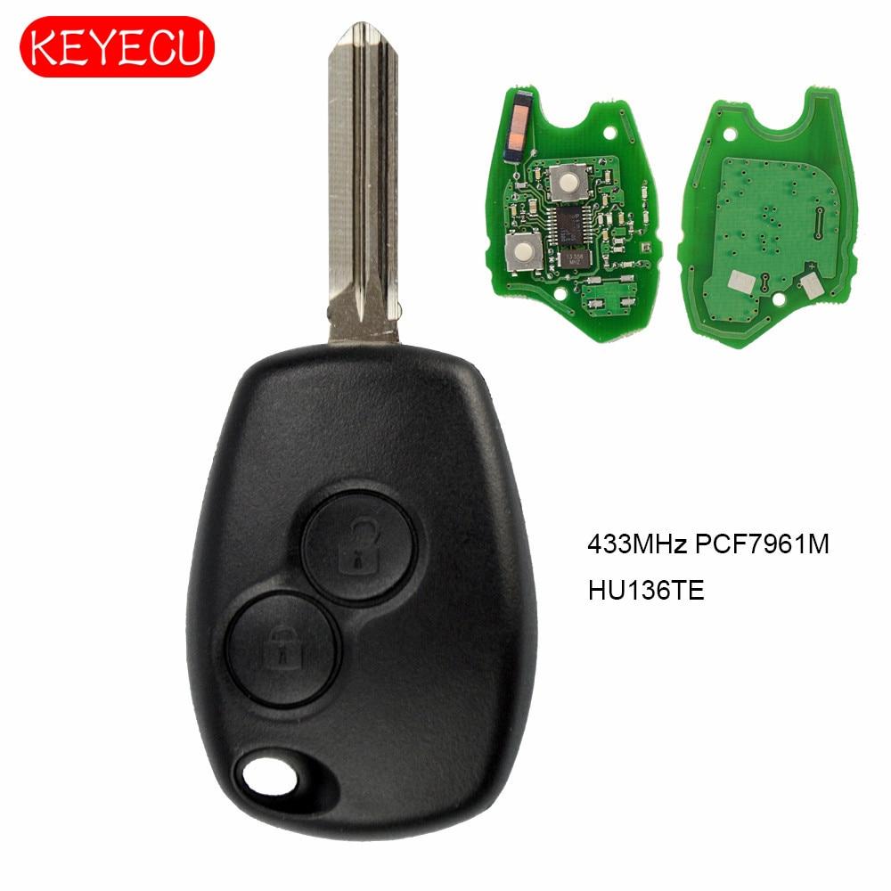 Keyecu 2 botões da Chave Do Carro Remoto 433 MHz PCF7961M HITAG AES HU136TE Lâmina Sem Cortes de Substituição Chip para Renault